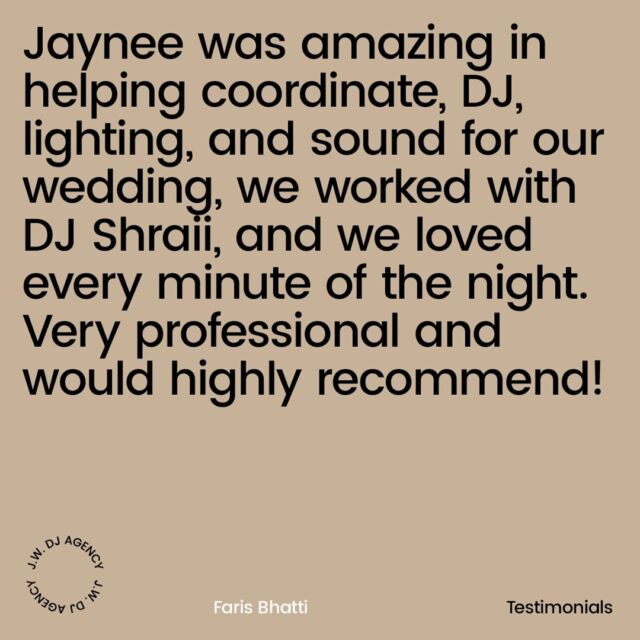 😍 Another review from one of our clients 🍾 Credit to our superstar International DJ @djshraii  Jaynee was amazing in helping coordinate the DJ , Lighting and Sound for our wedding. We worked with DJ Shraii and we loved every minute of the night. Very professional and would highly recommend!  For more information on how to book one of our amazing DJS or soloists email jaynee@jwdjagency.com  #pioneer #dj #openformatdjs # #jwdjs #jwdjsdubai #festivaldjs #recordlabel rdjs #dreamteam #agency #Londondjs #djhire  #5stardjs #5staragency #monaco #exigorecords #musicproducers #serato #londondjs #essexdjs #internationaldjs #rnbdjs #hiphopdjs