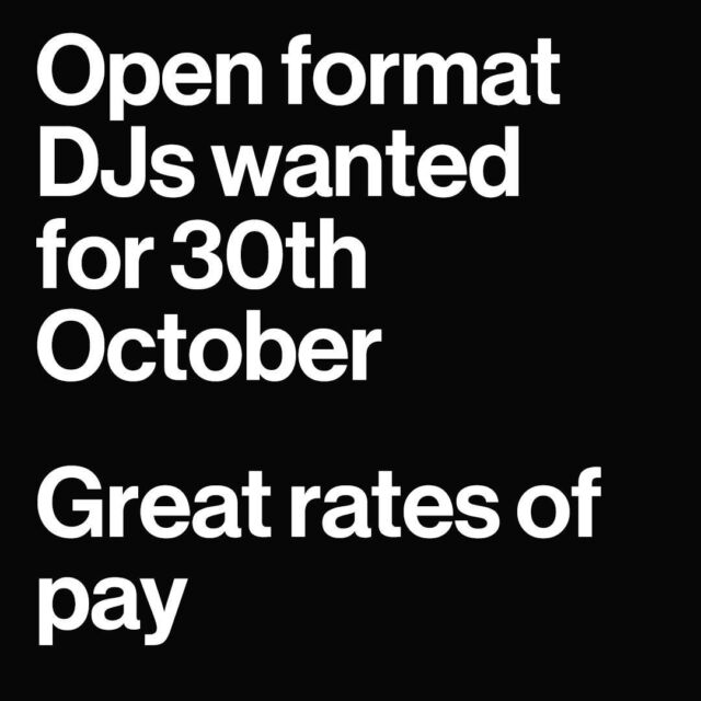 We are looking for amazing Open Format DJs for Saturday nights, and have some awesome gigs available on the 30th October, with brilliant rates!  For more information or to apply please contact: recruitment@jwdjagency.com jaynee@jwdjagency.com jordan@jwdjagency.com  #recordlabel #danceagain #music #nightlife #dj #techno #clubbing #entertainment #love #housemusic #djlife #festival #lovewhatyoudo #independentrecordlabel #housemusic #techhouse #dubai #london #jwdjs #exigodjs #exigoresidents #musicproducers #clubevents #newworldfest #events #clubdjs #musicproducers 